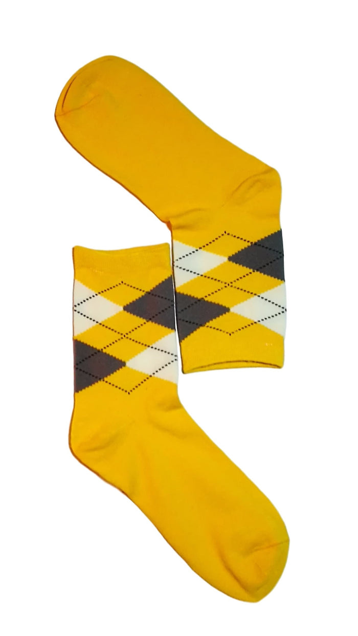Yellow, White & Grey Diamond Sock