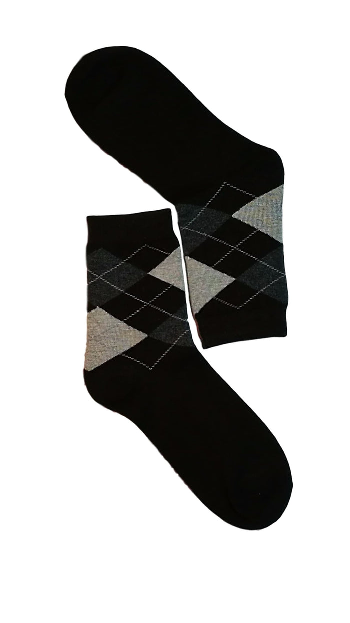 Dark Brown, Grey & White Diamond Sock