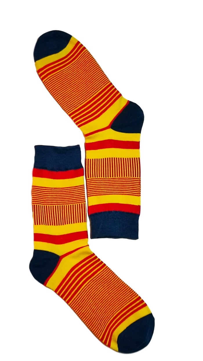 Yellow, Blue & Red Fine Line Socks