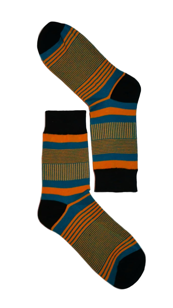 Blue, Orange and Black Fine Line Sock