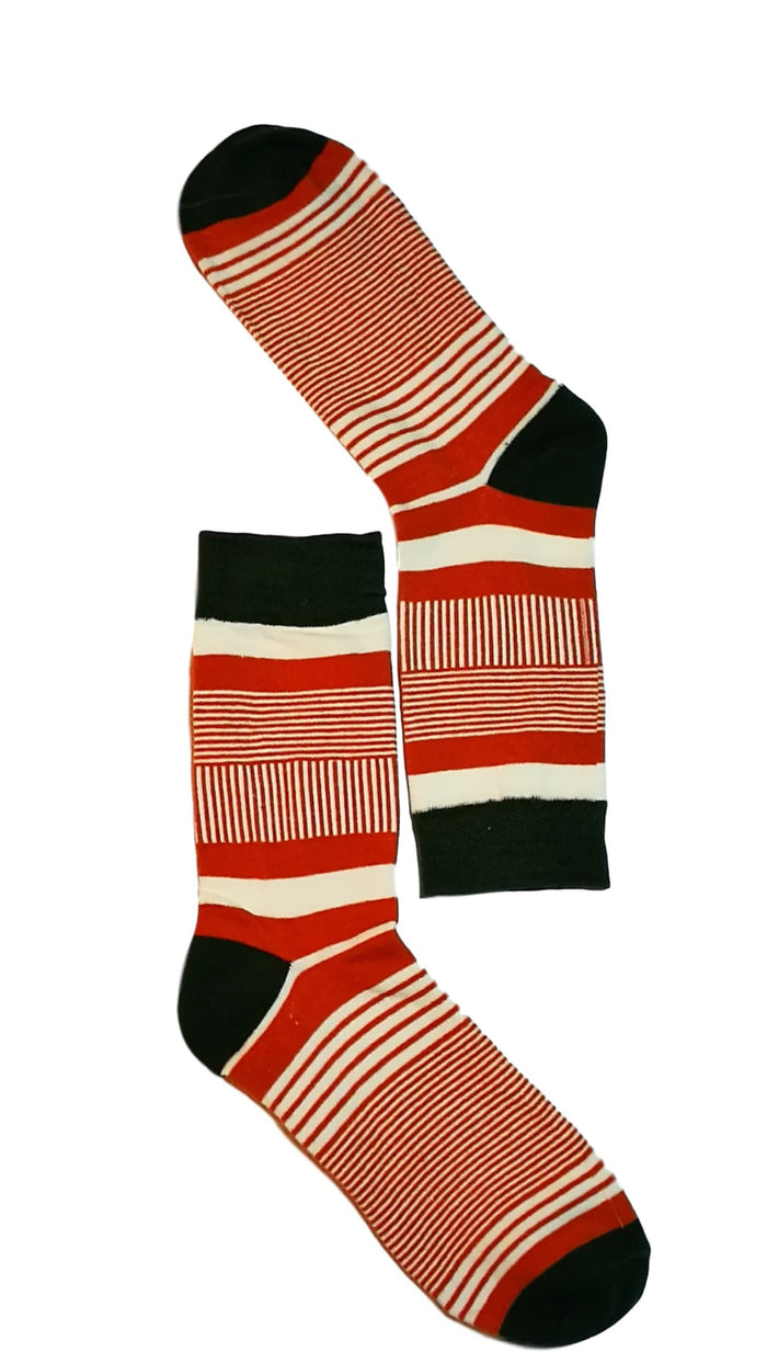 White, Black & Red Fine Line Sock