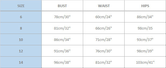 Australian Size Guide SVO Clothing