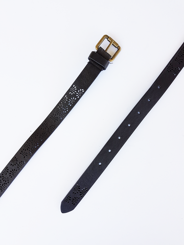 Petal Cutout Belt - Black