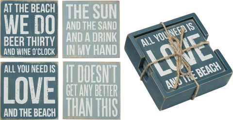 Box Sign Wooden Coasters - Beach Bungalow Life | Coasters | All You Need Is Love And The Beach