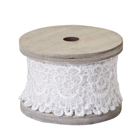 "2"" OASIS Scalloped Lace Antique White Ribbon-Floral Design D?_cor-Smithers-Oasis-12-"