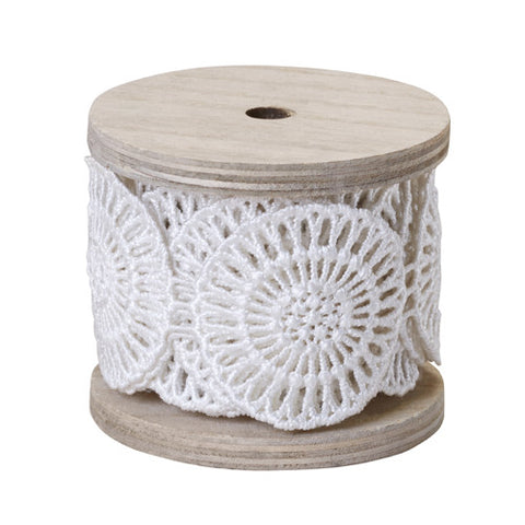 "2"" OASIS Medallion Lace Antique White Ribbon"