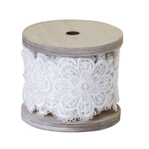 "2"" OASIS Floral Lace Antique White Ribbon-Floral Design D?_cor-Smithers-Oasis-12-"