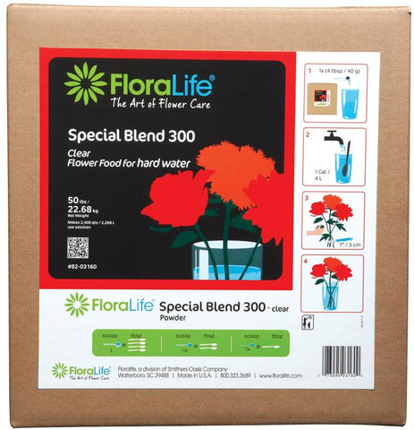Floralife Special Blend 300 Flower Food Powder for Hard Water-Cut Flower Care-Smithers-Oasis-50 lb.-1-