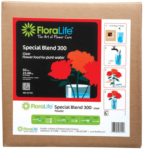 Floralife Special Blend 300 Flower Food Powder for Pure Water-Cut Flower Care-Smithers-Oasis-50 lb.-1-