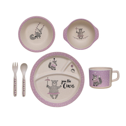 Bamboo Kids Serving Set - White/Light Purple - Bloomingville