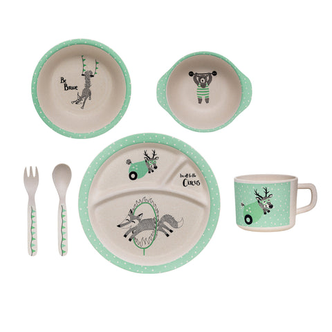 Bamboo Kids Serving Set - White/Mint - Bloomingville