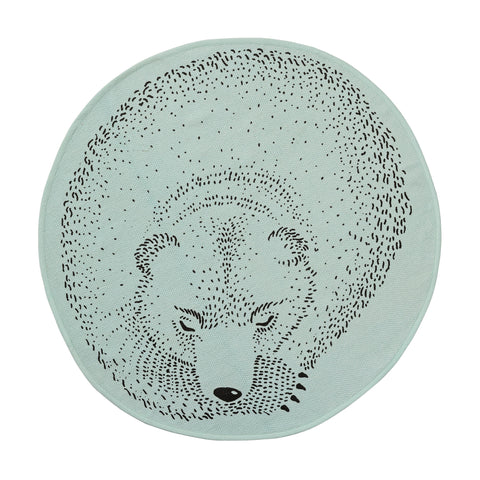 Round Cotton Rug Sleeping Bear - Bloomingville