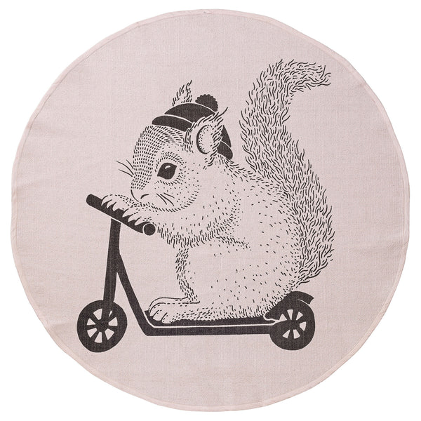 Round Cotton Rug Squirrel on scooter - Bloomingville