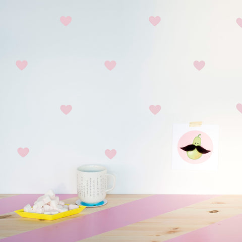 Wall Decal Pattern Pale Pink Hearts - Made of Sundays