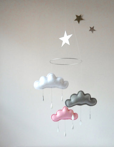 Mobile White&Grey&Pink Clouds - The Butter Flying