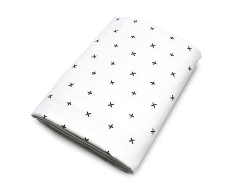 White Cross Crib Sheet - Olli+Lime
