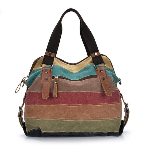 horizontal striped patchwork purse tote handbag