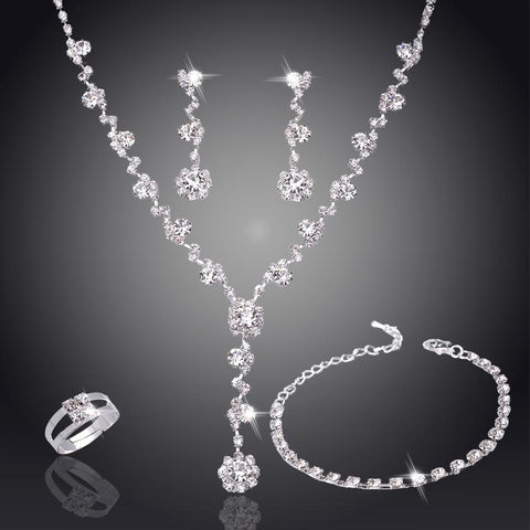 Silver Crystal Rhinestone Necklace, Bracelet, Earrings, and Jewelry Set