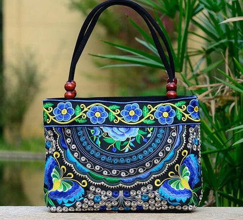 T2 Bohemian Embroidered Tote Handbag