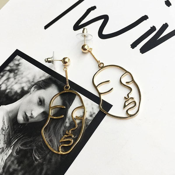Abstract Thought Face Dangle Drop Earrings Boucles Doreilles Drop Earrings