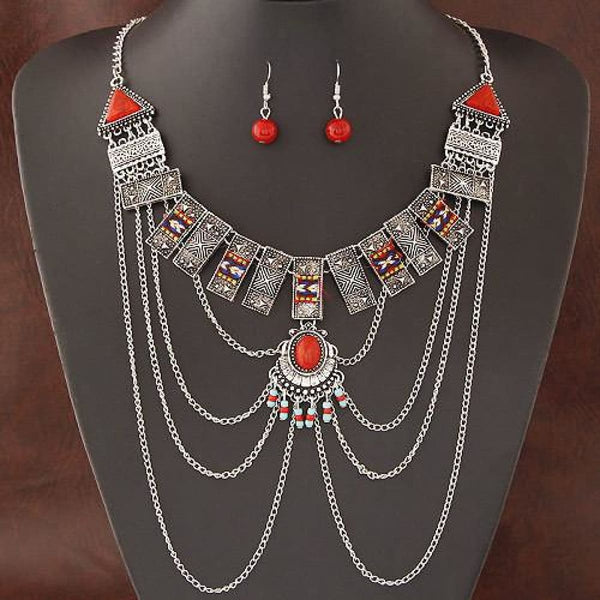 African Jewelry Sets Multi Chain Necklace Earring Ethnic Super Big Jewelry Set Indian Silver Color Jewelry Sets