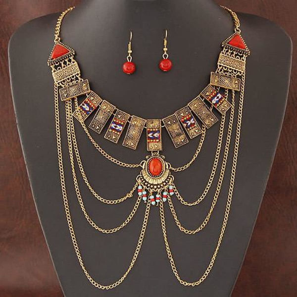 African Jewelry Sets Multi Chain Necklace Earring Ethnic Super Big Jewelry Set Indian Gold Color Jewelry Sets