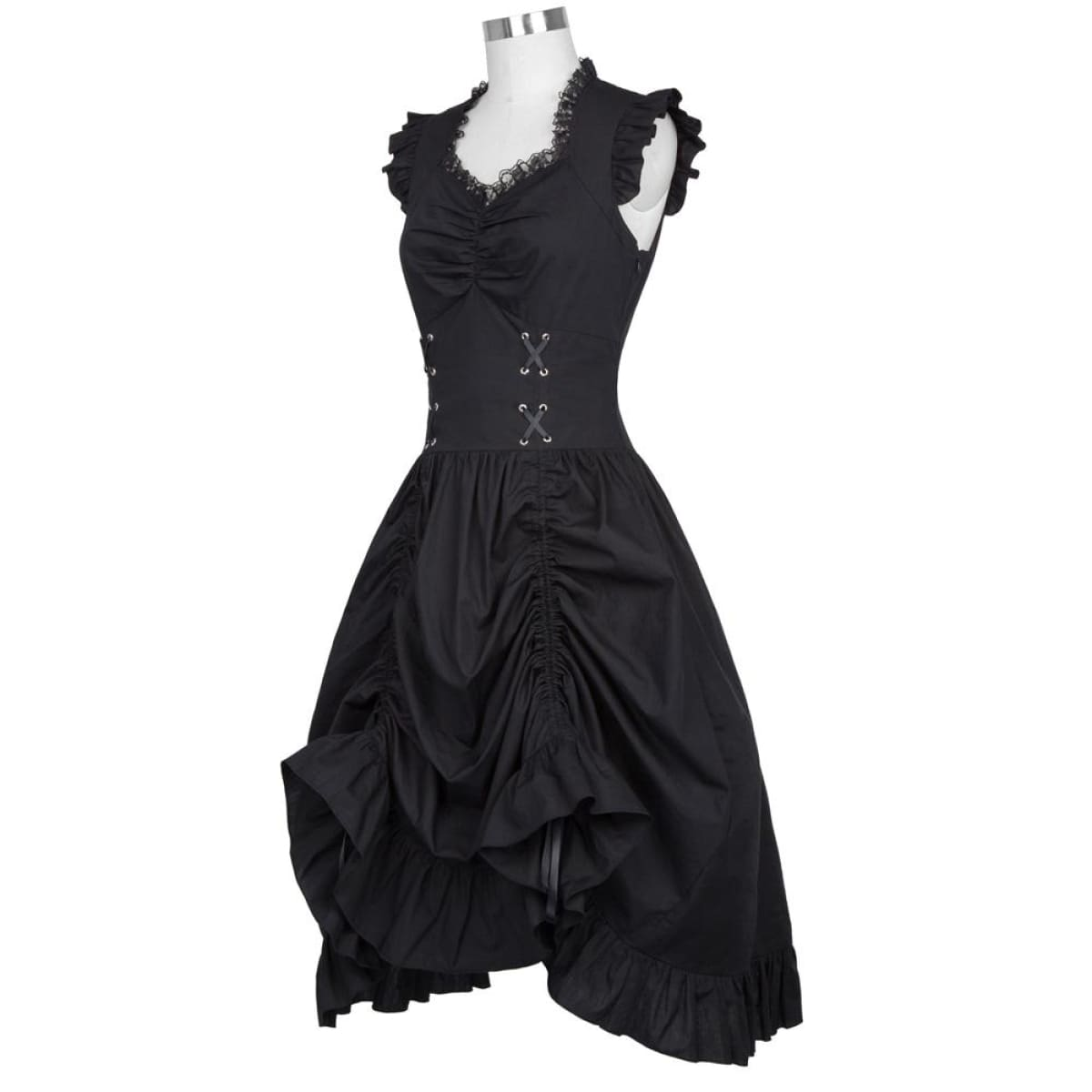 B Poque Steampunk Black Punk Gothic Victorian Dress Sleeveless V ...