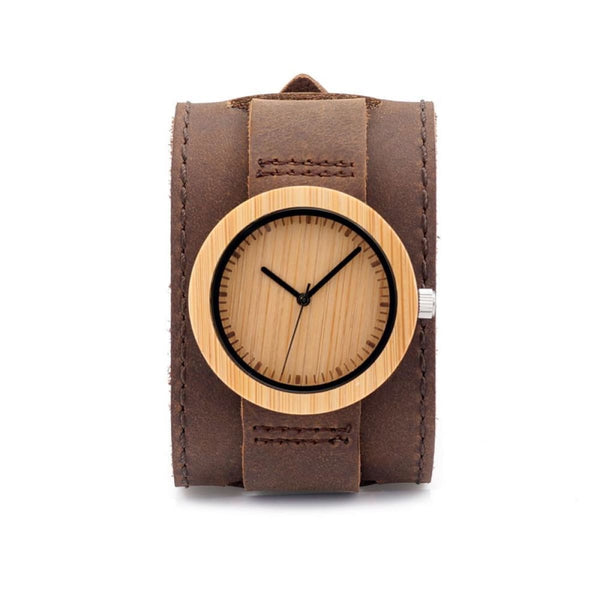 Bamboo Wooden Watch With Genuine Cowhide Leather Band Luxury Wood Quartz Watches
