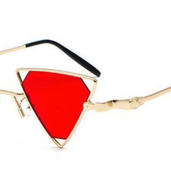 Bemon Triangle Steampunk Sunglasses Red / Gold Frame Steampunk Sunglasses
