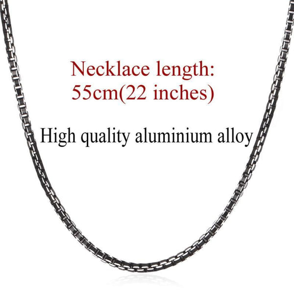 Black Collar Alloy Link Chain Necklace 3Mm 22Inch Chain Necklaces