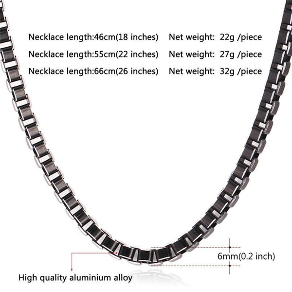 Black Collar Alloy Link Chain Necklace Chain Necklaces