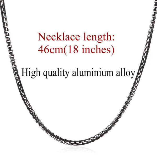 Black Collar Alloy Link Chain Necklace 3Mm 18Inch Chain Necklaces