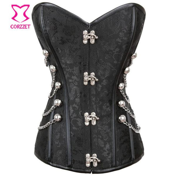 Black Victorian Steel Bone Steampunk Corset And Bustier Dress With Jacket Corset / L Steampunk Dress