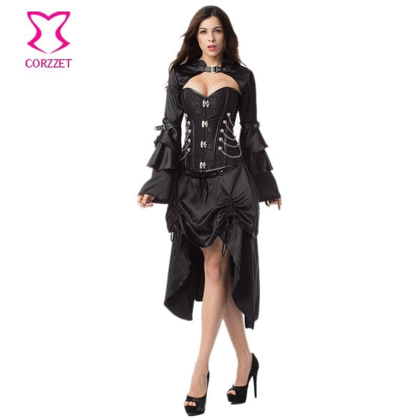 Black Victorian Steel Bone Steampunk Corset And Bustier Dress With Jacket Steampunk Dress
