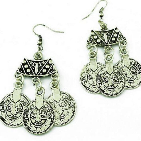 Bohemian African Metal Coin Drop Earrings Ethnic Love India Carving Jewelry