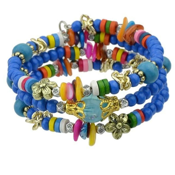 Bohemian Colorful Wood Beads Multilayer Chain Bracelets With Star And Leaf Charm Blue Bangles