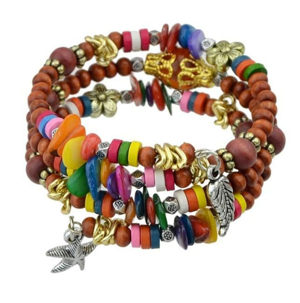 Bohemian Colorful Wood Beads Multilayer Chain Bracelets With Star And Leaf Charm Coffee Bangles