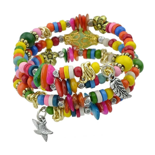 Bohemian Colorful Wood Beads Multilayer Chain Bracelets With Star And Leaf Charm Bangles