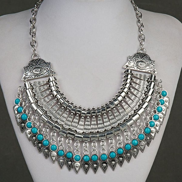 Bohemian Ethnic Choker Collar Vintage Maxi Statement Necklaces & Pendants Blue Pendant Necklaces