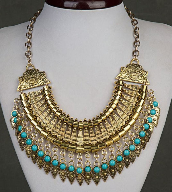 Bohemian Ethnic Choker Collar Vintage Maxi Statement Necklaces & Pendants Gold Pendant Necklaces