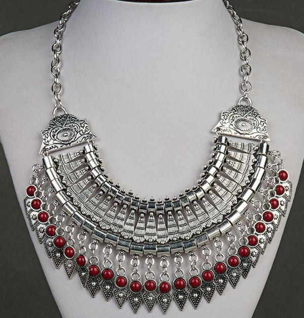 Bohemian Ethnic Choker Collar Vintage Maxi Statement Necklaces & Pendants Red Pendant Necklaces
