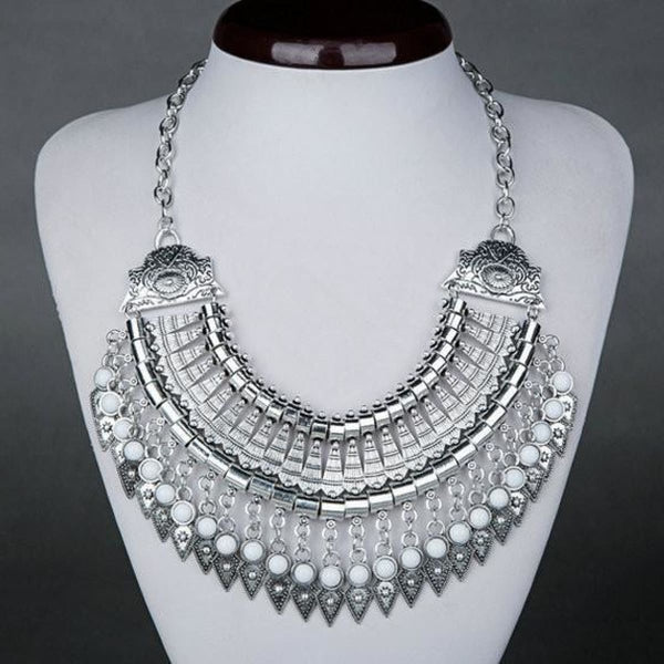 Bohemian Ethnic Choker Collar Vintage Maxi Statement Necklaces & Pendants White Pendant Necklaces