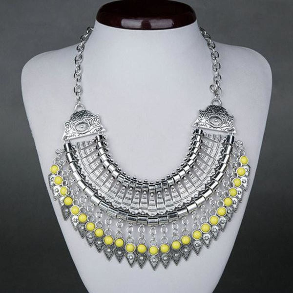 Bohemian Ethnic Choker Collar Vintage Maxi Statement Necklaces & Pendants Yellow Pendant Necklaces