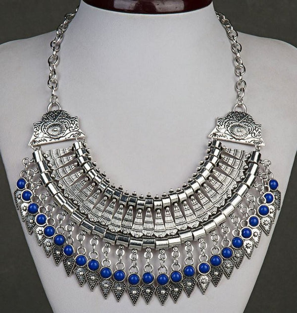 Bohemian Ethnic Choker Collar Vintage Maxi Statement Necklaces & Pendants Sapphire Blue Pendant Necklaces