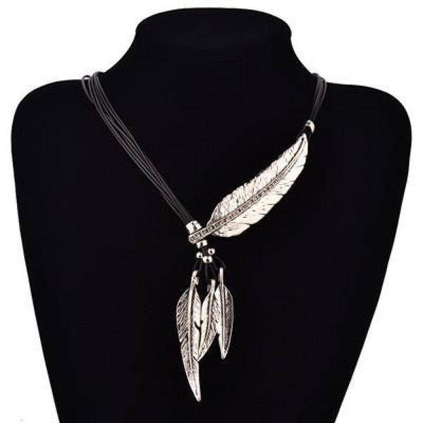 Bohemian Style Black Rope Chain Feather Shaped Pendant Necklace For Women Silver Pendant Necklaces