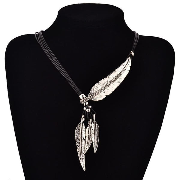 Bohemian Style Black Rope Chain Feather Shaped Pendant Necklace For Women Pendant Necklaces