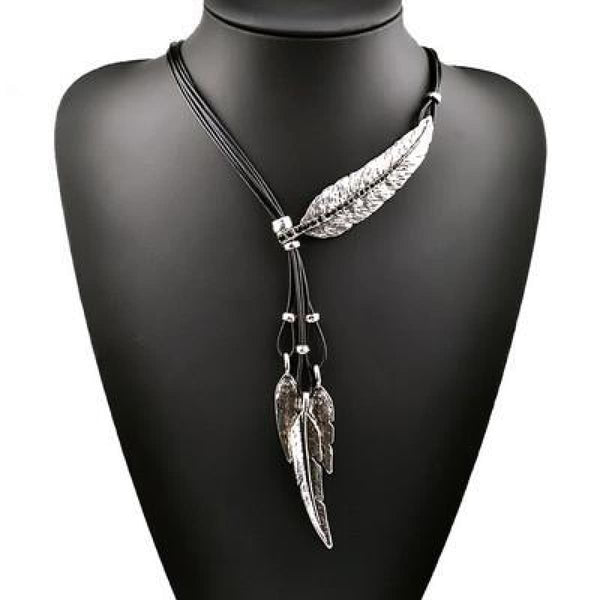 Bohemian Style Black Rope Chain Feather Shaped Pendant Necklace For Women 3475 Silver Black Pendant Necklaces