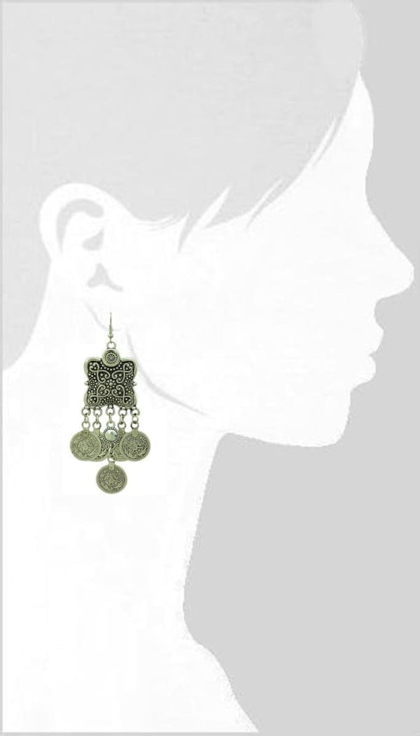 Bohemian Style Coin Drop Earring Ethnic Turkish Gypsy India African Jewelry