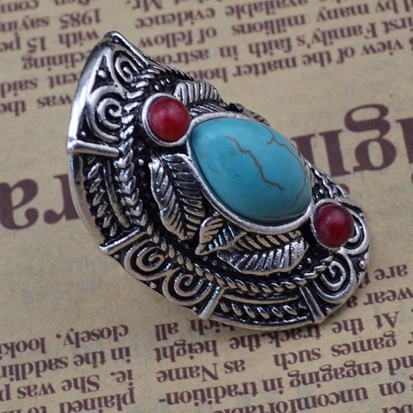Bohemian Tibet Silver & Red Natural Turquoise Gem Stone Boho Joint Ring