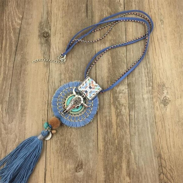 Boho Handmade Necklace Dream Catcher Bull Pendant Rope Necklace Color 4 Bohemian Necklace